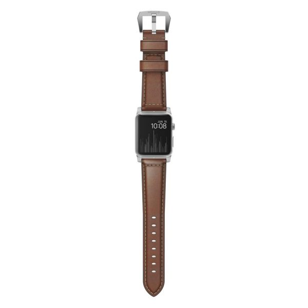 Leather Nomad Apple Watch strap – Traditional - Brown - Silver
