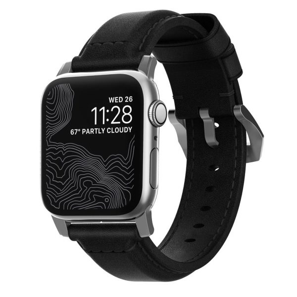Nomad Apple Watch strap - Traditional - Black - Silver